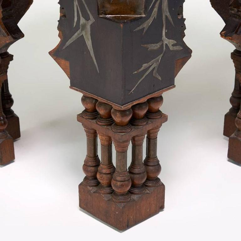 Rare side table by Carlo Bugatti in walnut ebonized wood and pewter.