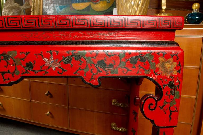 Vibrant Red Cinnabar Lacquered Chinese Altar Table For Sale 1