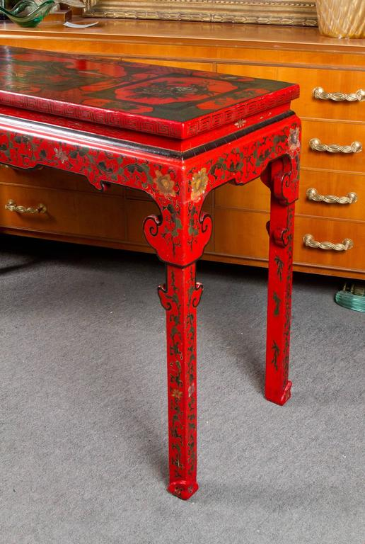 Vibrant Red Cinnabar Lacquered Chinese Altar Table For Sale 2