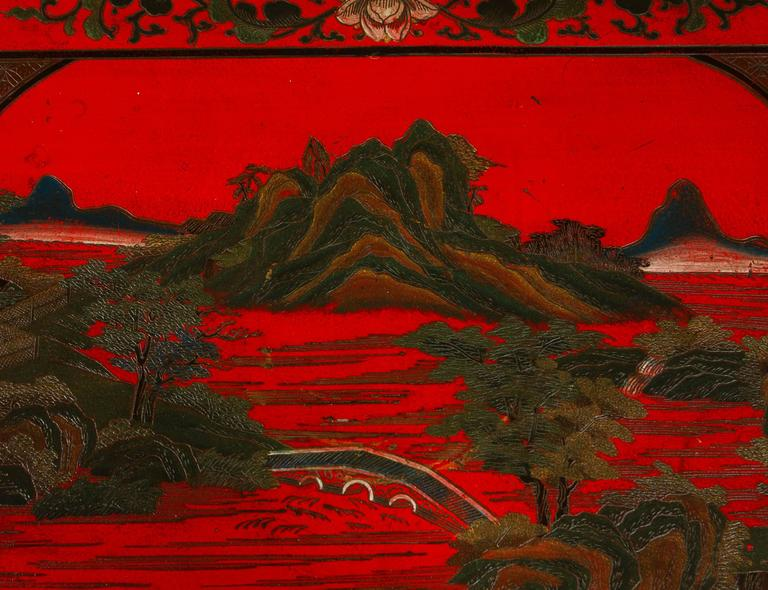 Vibrant Red Cinnabar Lacquered Chinese Altar Table For Sale 3
