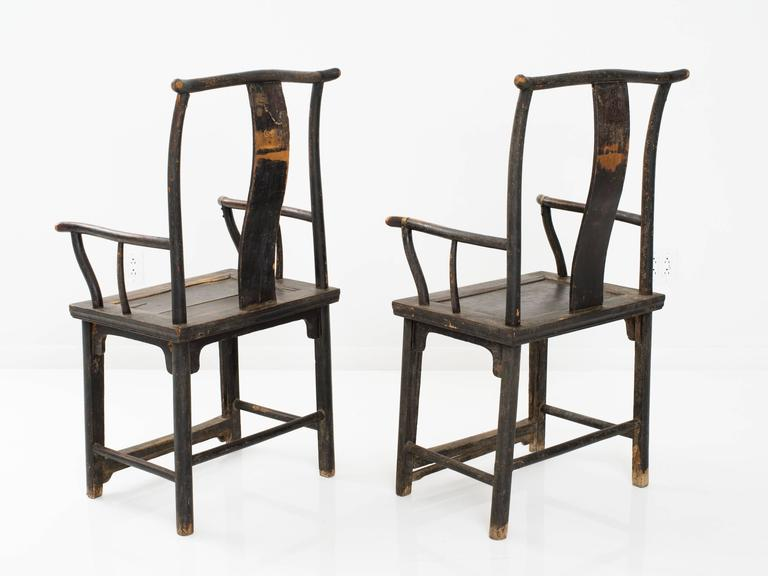 Pair of 18th century painted elm chinese armchairs for for Oriental furniture montreal