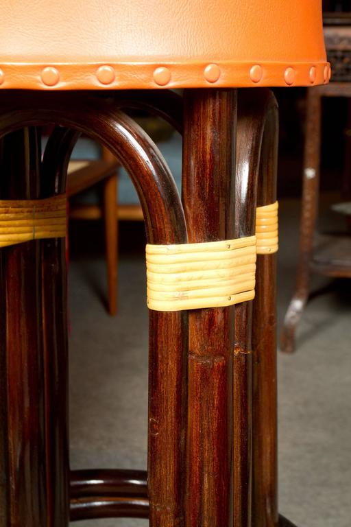 Mid-Century Modern Great Set of Six Bamboo Bar Stools For Sale