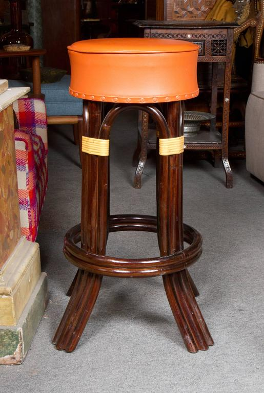 American Great Set of Six Bamboo Bar Stools For Sale