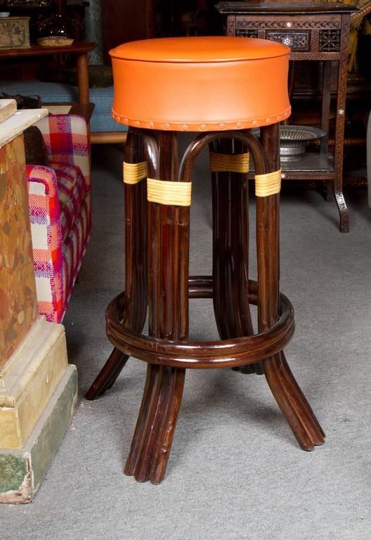 Mid-20th Century Great Set of Six Bamboo Bar Stools For Sale