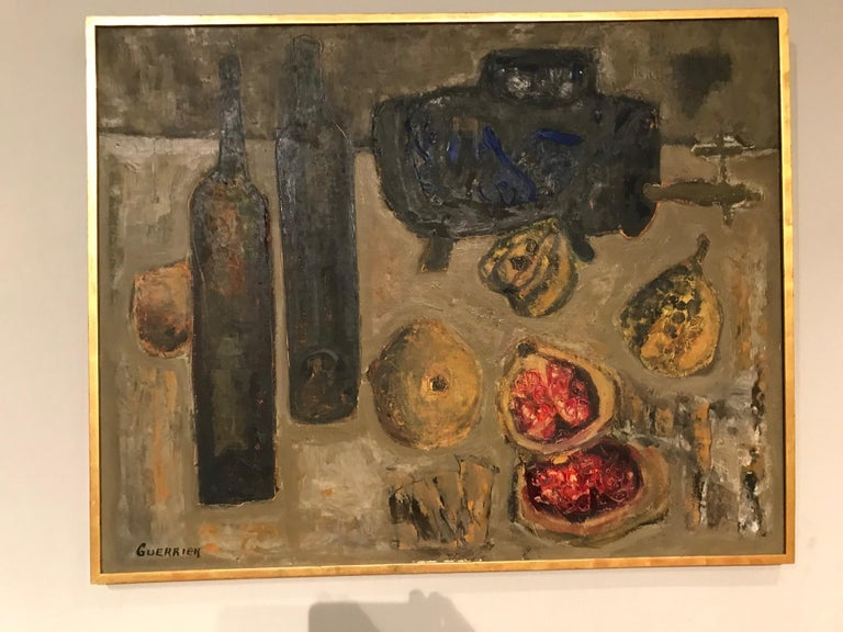 Colorful still life oil on canvas by Raymond Guerrier.  Signed: