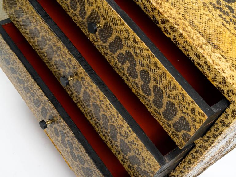 Animal Skin Snakeskin Chest of Drawers For Sale