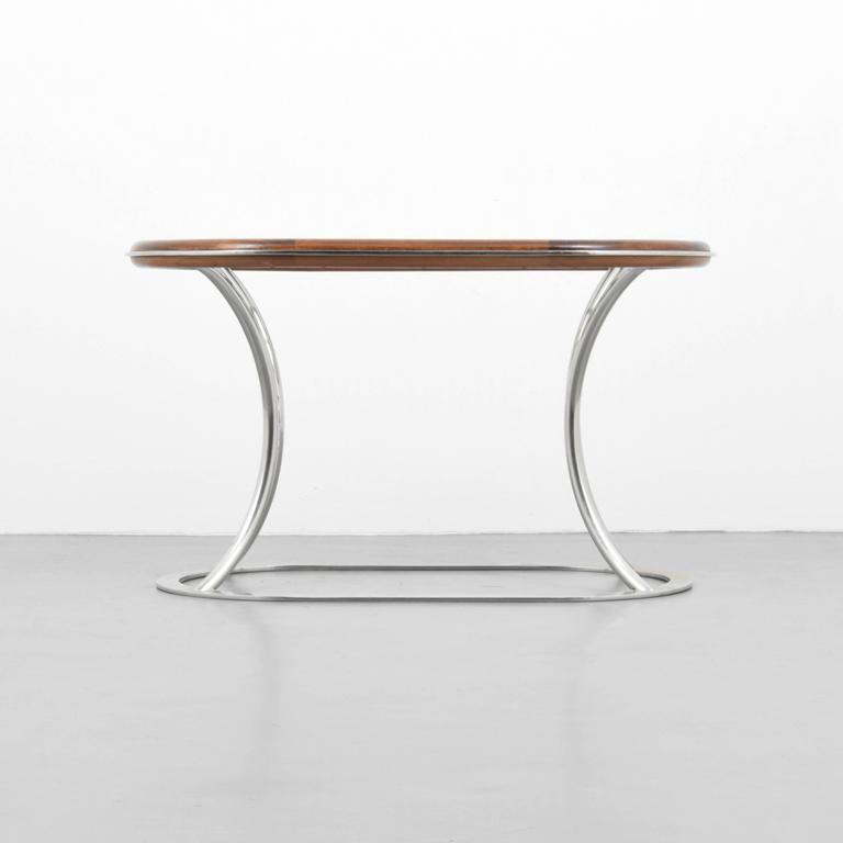 French Stylish Steel and Brass Side Tables by Alain Delon for Maison Jansen For Sale