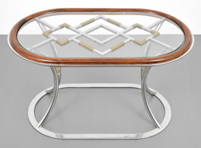 Stylish Steel and Brass Side Tables by Alain Delon for Maison Jansen In Good Condition For Sale In Montreal, QC