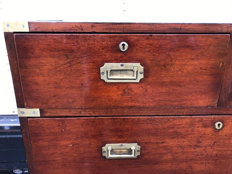 19th Century Mahogany Campaign Chest For Sale 1