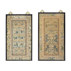Beautiful Pair of Framed Chinese Embroidered Silk Panels, circa 1910-1920