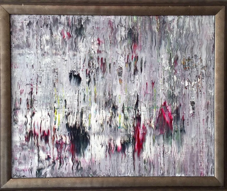 Contemporary Caravan Acrylic on Canvas Abstract Painting Framed Andrew Plum For Sale