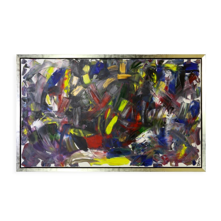 Color My World Acrylic on Canvas Abstract Painting Framed Andrew Plum