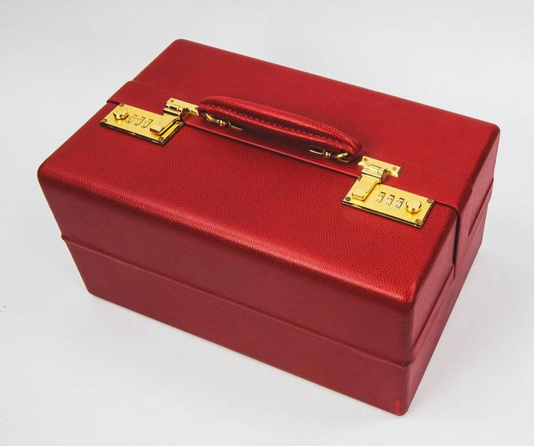 Modern Tanner Krolle London Red Leather Jewelry Case, New For Sale