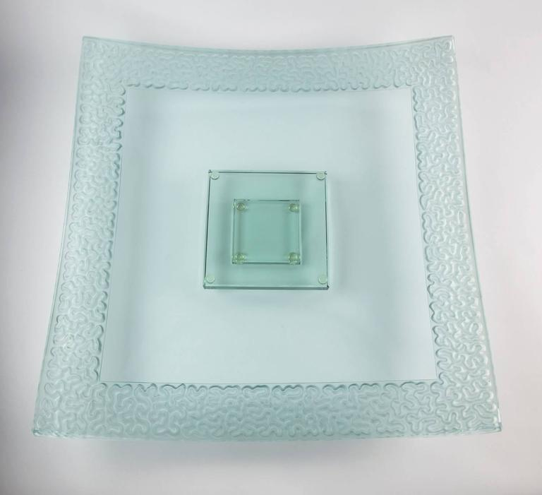 Cast Modernist Large Square Art Glass Centerpiece Dish and Base For Sale