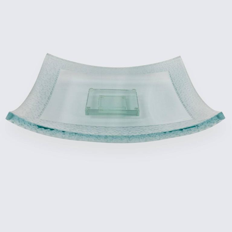 Modernist Large Square Art Glass Centerpiece Dish and Base For Sale 1