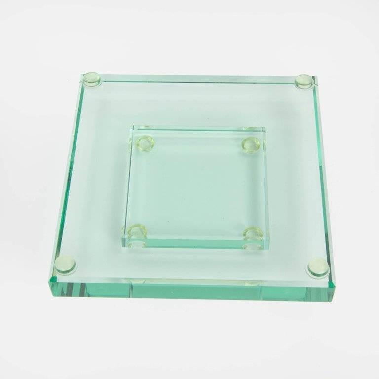 Striking large square art glass centerpiece dish for sale