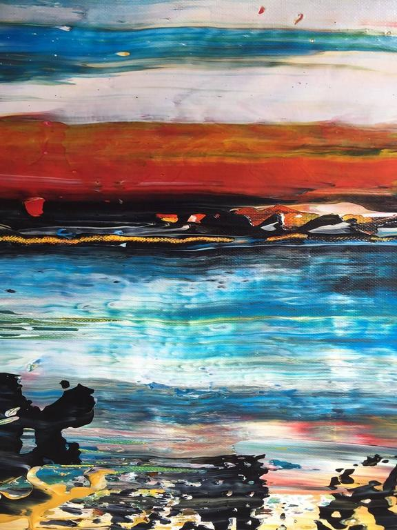 Abstract Landscape Matanzas Playa Acrylic on Canvas Painting Unframed 3
