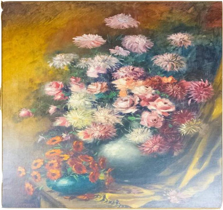 Baroque Revival Still Life with Flowers Oil on Canvas Painting Artist E. Debroux For Sale