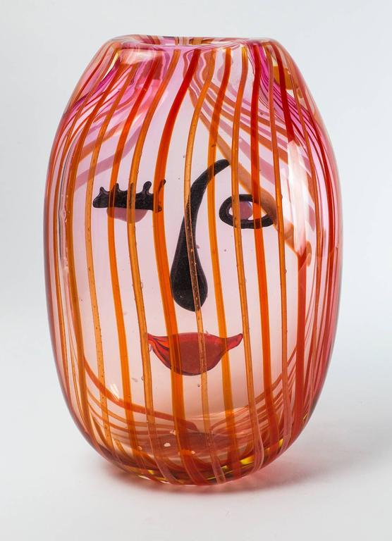 Large Multi Colored Art Glass Girls Face Abstract Vase For Sale At
