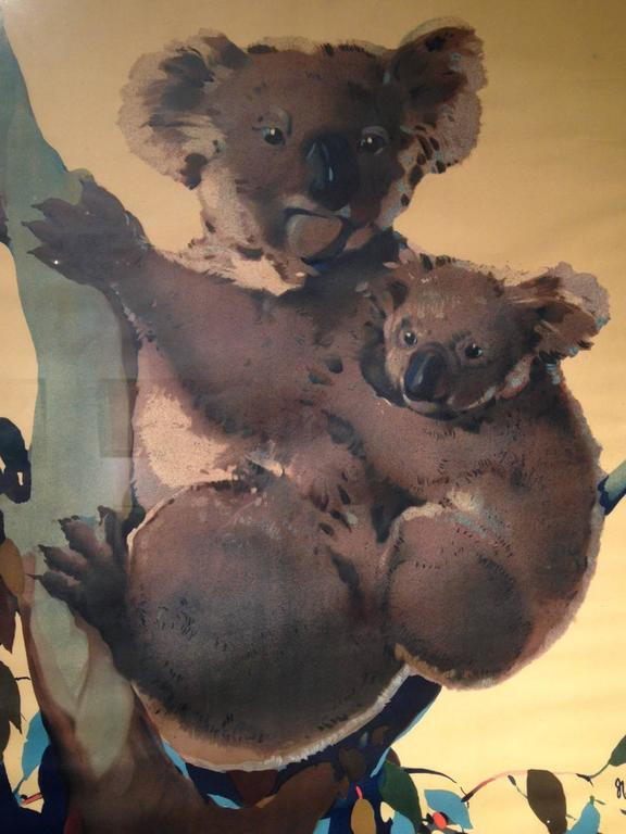 A wonderful original travel poster by renowned Australian travel artist,  James Northfield, (1887-1973), portraying a Koala, one of Australia's unique creatures, resting in a eucalyptus tree with her adorable cub.  Northfield was commissioned by