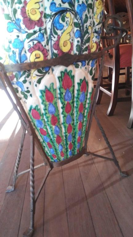 Painted Estate Arts and Crafts Majolica Umbrella Stand on Artistic Wrought Iron Base For Sale