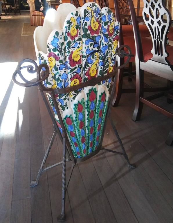 Pottery Estate Arts and Crafts Majolica Umbrella Stand on Artistic Wrought Iron Base For Sale
