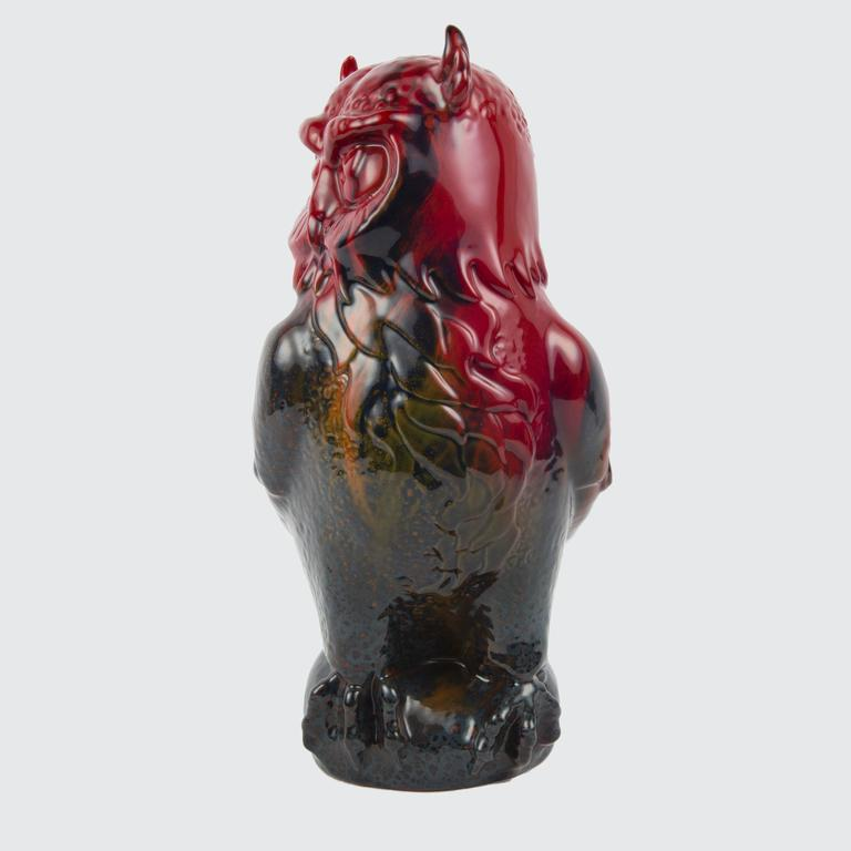 English Large Royal Doulton Flambé Great Horned Owl Figurine For Sale