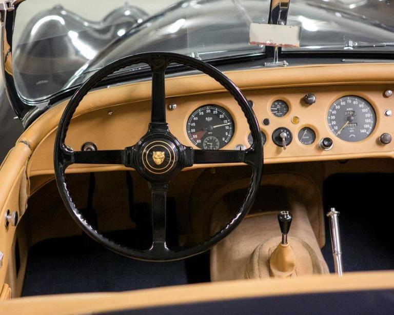 Mid-20th Century Vintage 1955 Jaguar XK 140MC OTS Navy Blue Car For Sale