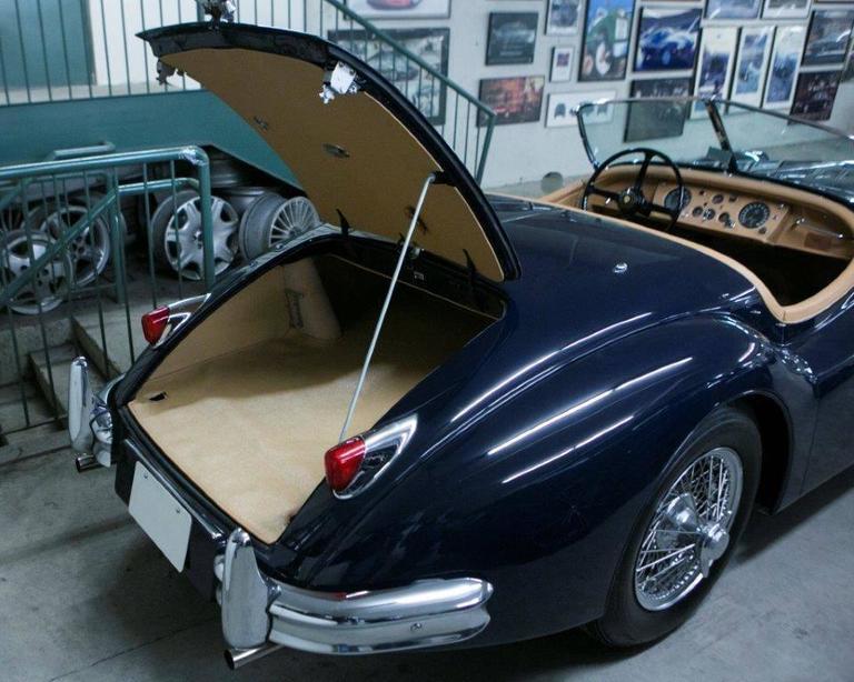 Vintage 1955 Jaguar XK 140MC OTS Navy Blue Car For Sale 1