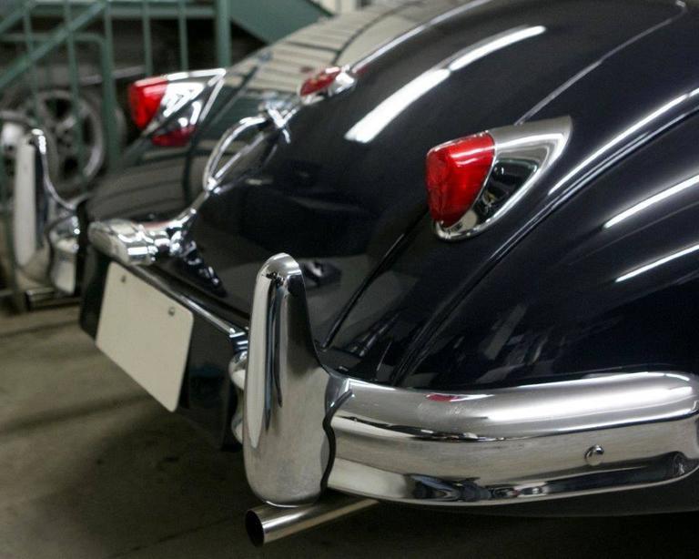 Mid-Century Modern Vintage 1955 Jaguar XK 140MC OTS Navy Blue Car For Sale