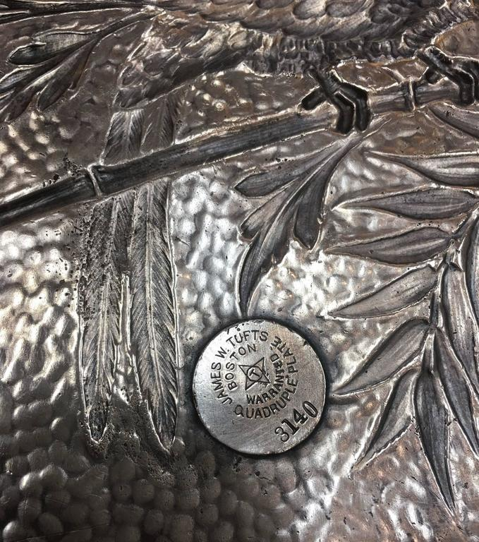 19th Century Aesthetic Movement Silver Plate Card Tray Macau Parrot on Bamboo Branch For Sale