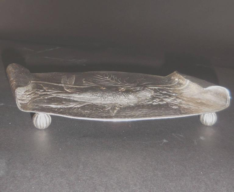 Hammered Aesthetic Movement Silver Plate Card Tray Macau Parrot on Bamboo Branch For Sale