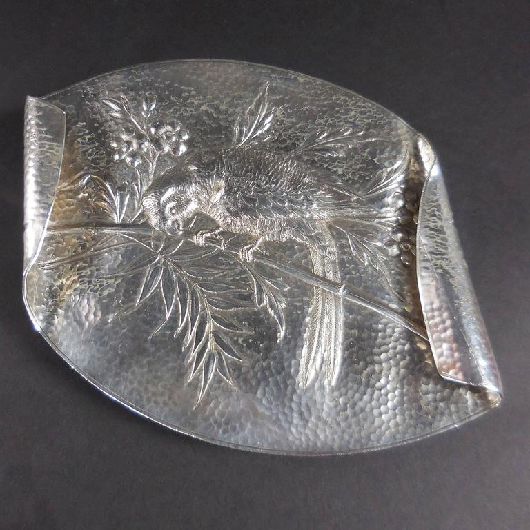 Aesthetic Movement Silver Plate Card Tray Macau Parrot on Bamboo Branch For Sale 1