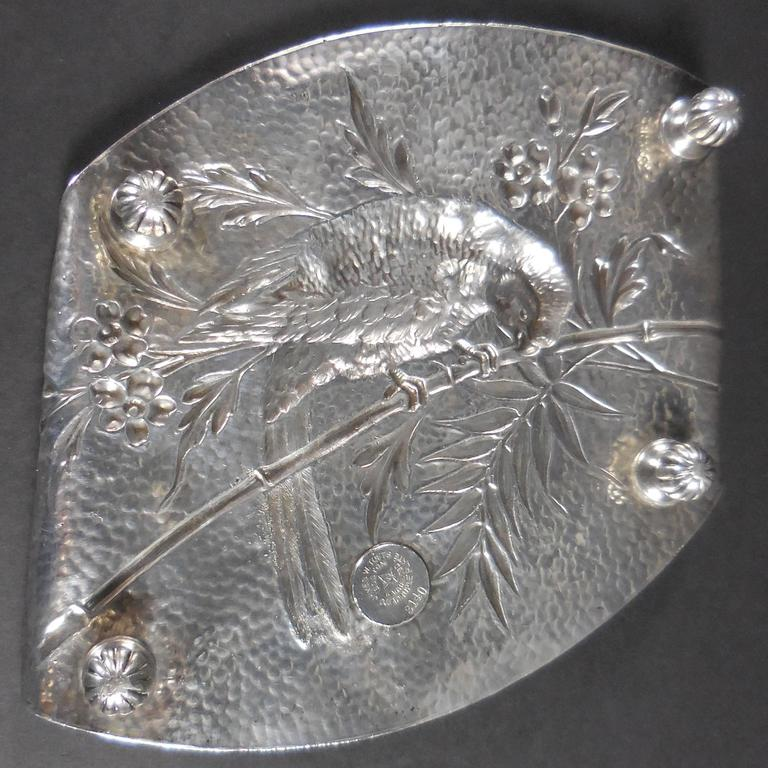 Aesthetic Movement Silver Plate Card Tray Macau Parrot on Bamboo Branch For Sale 2
