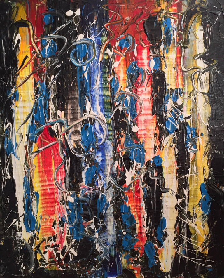 'Nighttime in Roppongi' Acrylic Mixed-Media on Canvas Abstract Painting In Excellent Condition For Sale In Montreal, QC