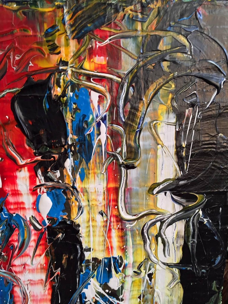 Contemporary 'Nighttime in Roppongi' Acrylic Mixed-Media on Canvas Abstract Painting For Sale