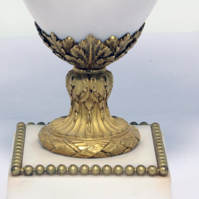 Pair of Louis XVI Style Marble and Gilt Bronze Candelabra For Sale 3