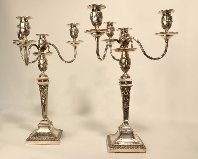 English Pair of Victorian Adam Style Four-Light Silver Candelabra For Sale