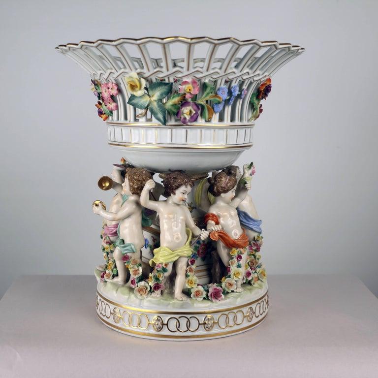 Dresden Porcelain Figural Centrepiece Raised Fruit Bowl For Sale 3