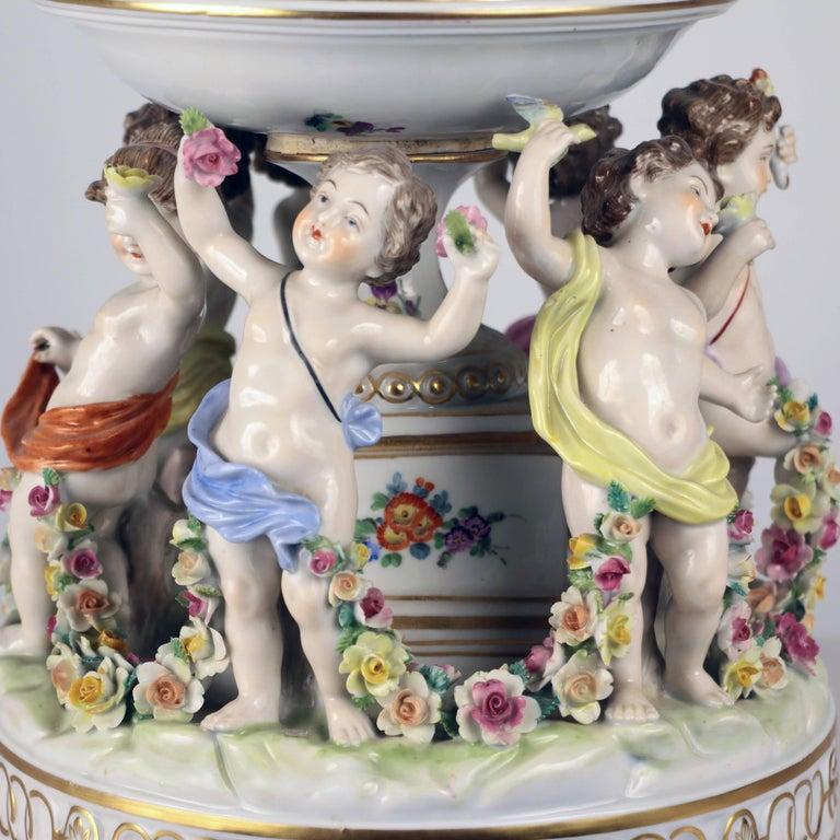 Dresden Porcelain Figural Centrepiece Raised Fruit Bowl For Sale 5