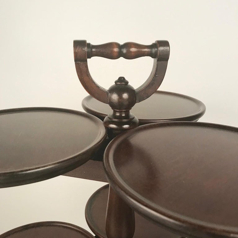 FREE SHIPPING SPECIAL in OCTOBER 2018 (Continental US only)  Victorian mahogany three-tier nine-tray plate stand with carrying handle, raised on three tapered feet. This is a very unusual form.