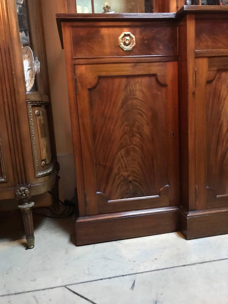 Georgian Style Mahogany Breakfront Bookcase Cabinet by Maple & Co. For Sale 1