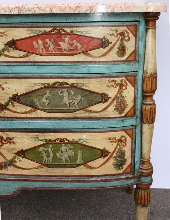 Neo-Classical Polychrome Three-Drawer Marble Top Commode 3