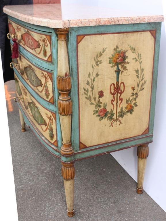 Neo-Classical Polychrome Three-Drawer Marble Top Commode 4
