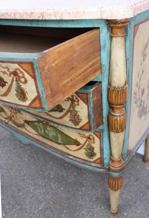 Neo-Classical Polychrome Three-Drawer Marble Top Commode 5