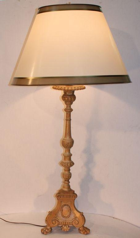 Pair of Quebec turned and carved maple pricket candlesticks, on tripodal bases, later adapted to electricity and fitted with custom parchment shades.