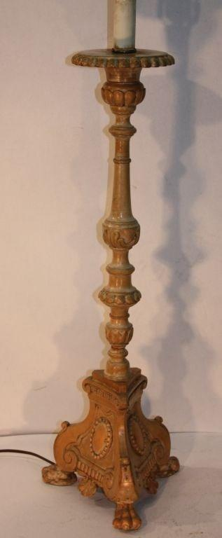 Canadian Pair of Quebec Pricket Candlesticks Adapted as Lamps For Sale