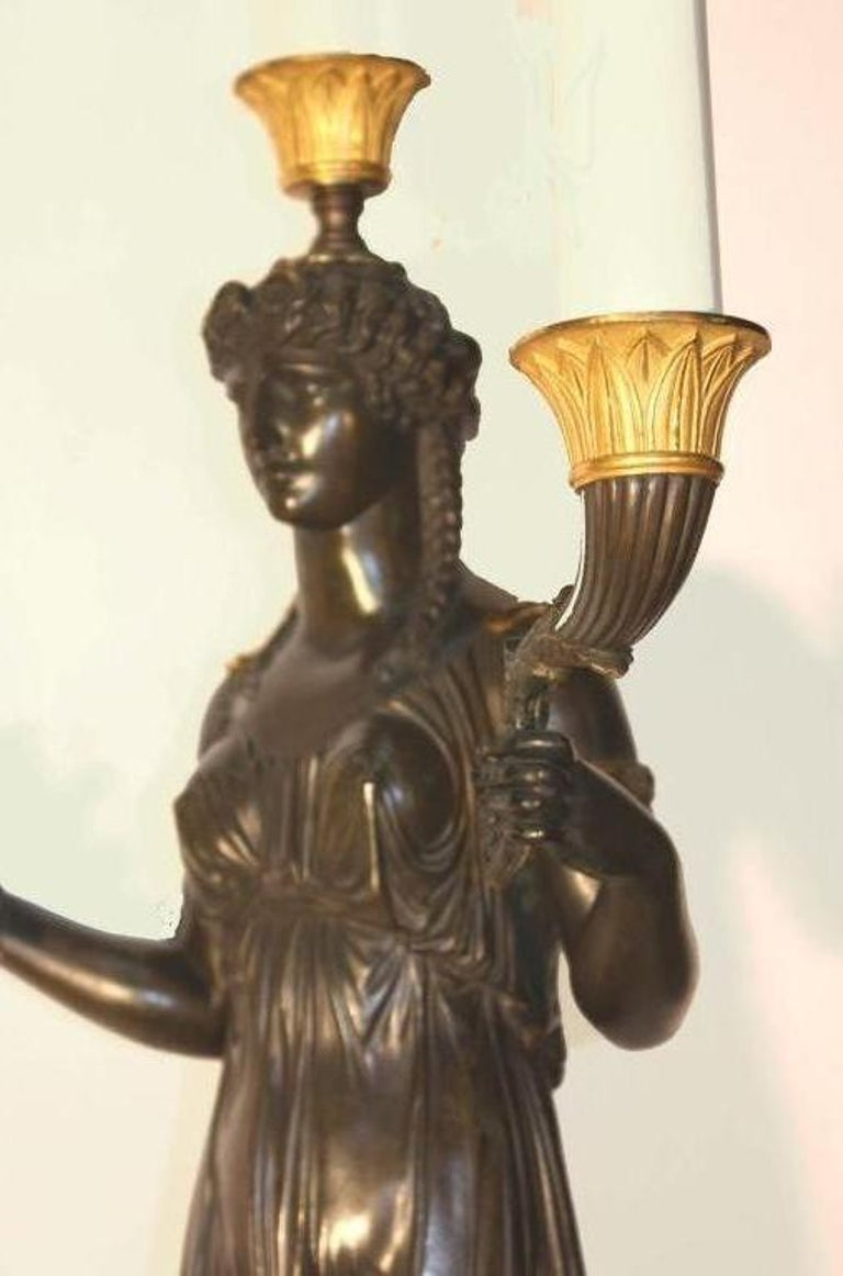 Empire Figural Parcel Gilt  Bronze Three Light Candelabrum    In Good Condition For Sale In Montreal, QC