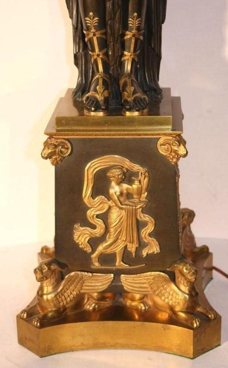 19th Century Empire Figural Parcel Gilt  Bronze Three Light Candelabrum    For Sale