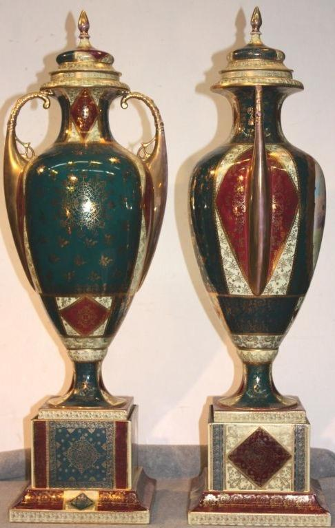 19th Century Pair of Royal Vienna Covered Vases For Sale